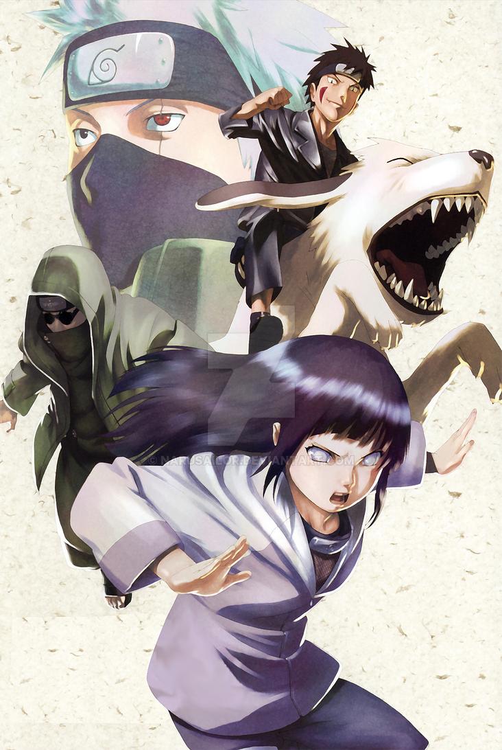HINATA SHINO KAKASHI AND KIBA by Narusailor