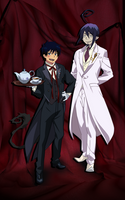 Rin Okumura and Mephisto Pheles elegance by Narusailor