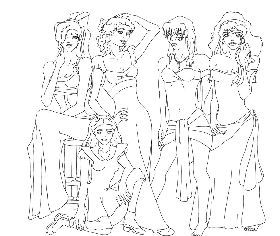 Line Drawing Disney : Disney women line art by jggh on deviantart
