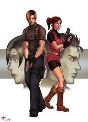 Resident Evil- Leon and Claire by Makotsu