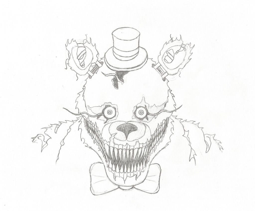 nightmare fredbear  sketch  by rodbmreis on deviantart
