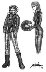 Odyssey 2001 Spacesuit shaded sketches 1 by jarloworks