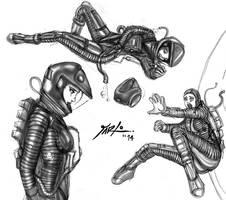 Odyssey 2001 Spacesuit shaded sketches 3 by jarloworks