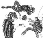 Odyssey 2001 Spacesuit shaded sketches 3