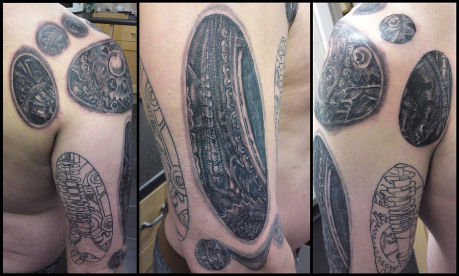 biomechanical arm tattoo cover up work in progress by