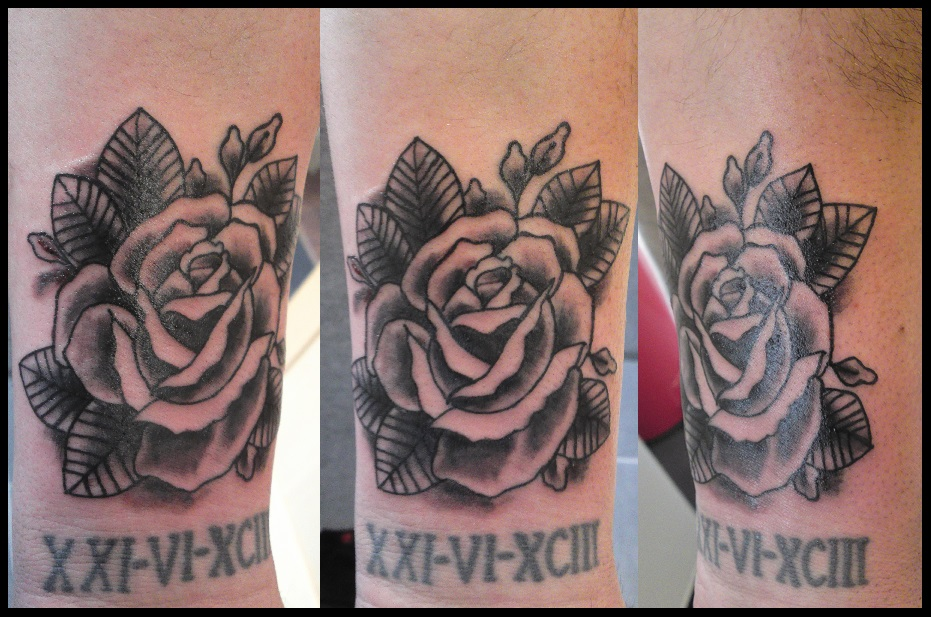 Traditional tattoo rose black and grey by will1969 on for Traditional black and grey tattoo