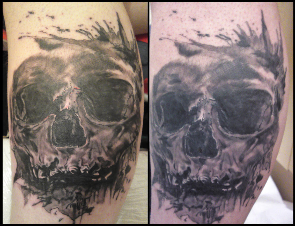 Skull tattoo 2 weeks by will1969 on deviantart for Tattoos that last 2 weeks