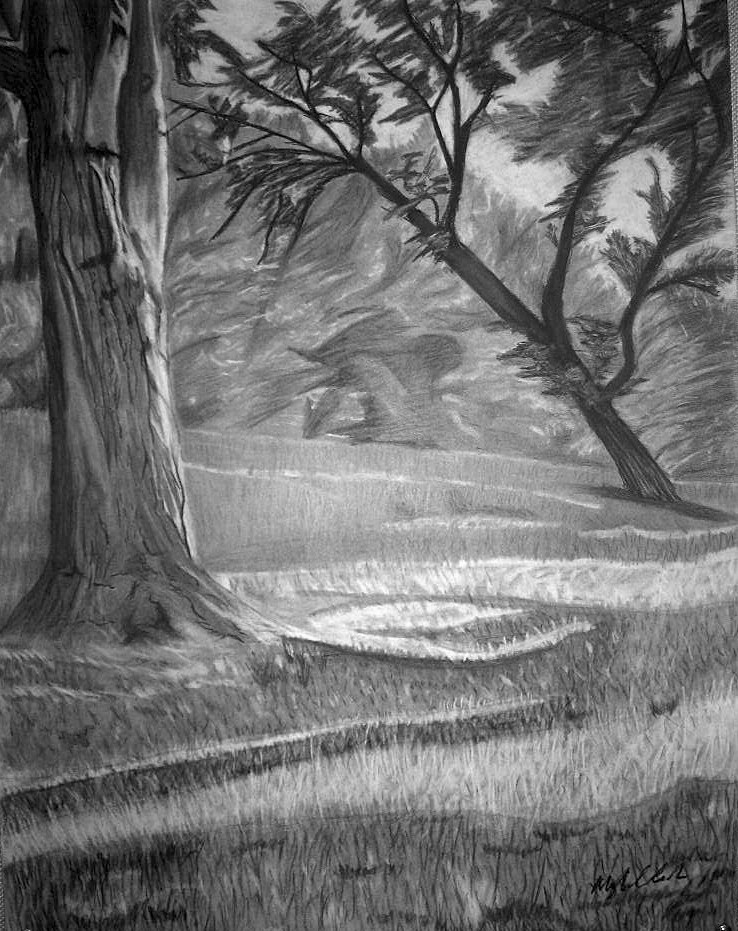 Learn Easy & Simple Shading A Landscape With Pencil ...  |Charcoal Drawings Of Landscapes