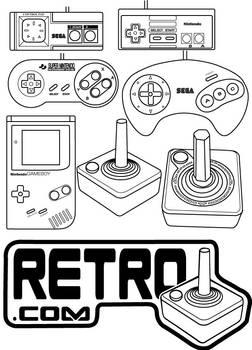 retro videogame controllers in