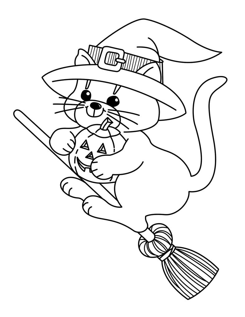 Witch Kitty Coloring Page by Mynder on DeviantArt
