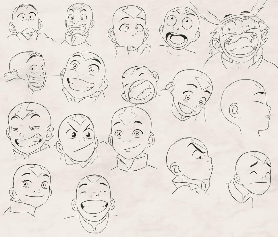 Avatar the last airbender Dibujo de la cara Expresiones
