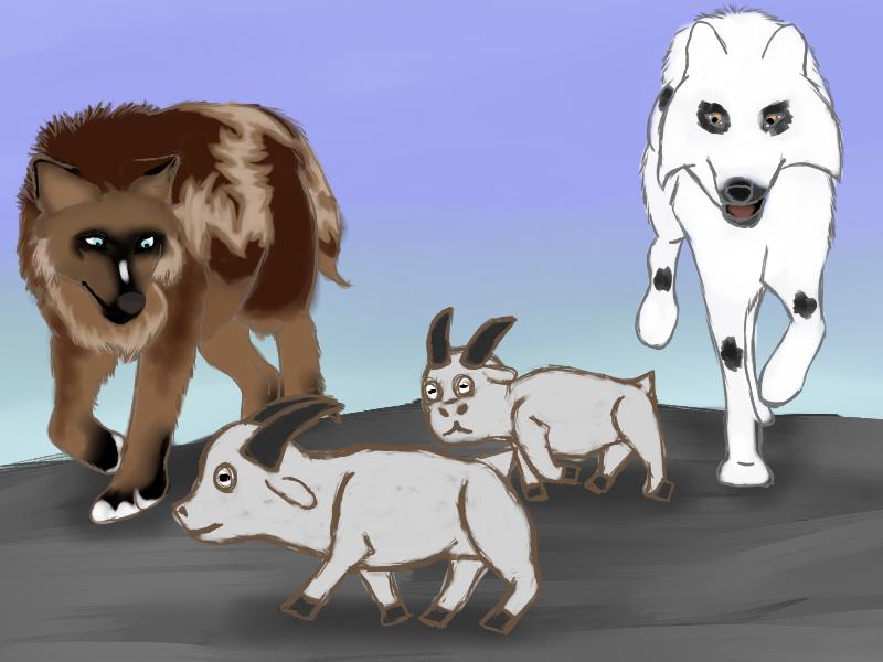Running Down Goats by magikwolf