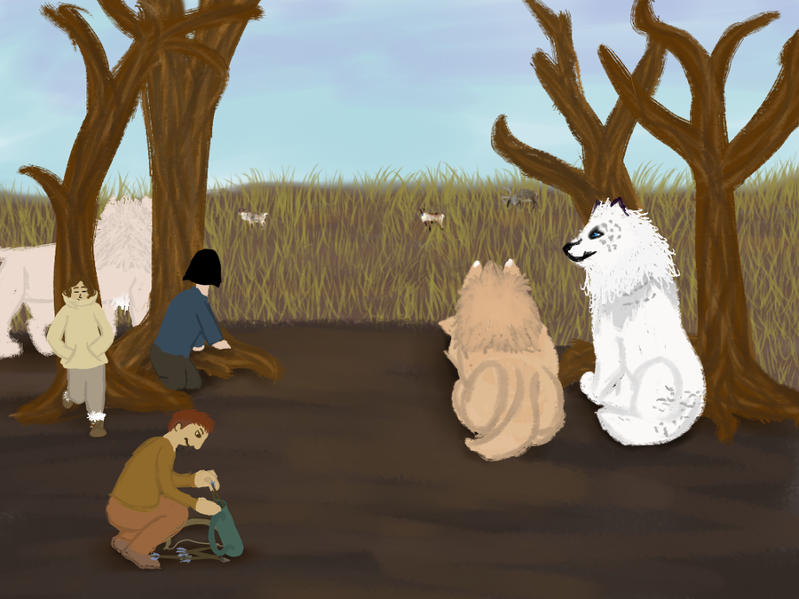 RoH-Preparing for Caribou Hunt by magikwolf