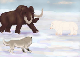 Prehistoric hunting - Elytrin and Lina by magikwolf