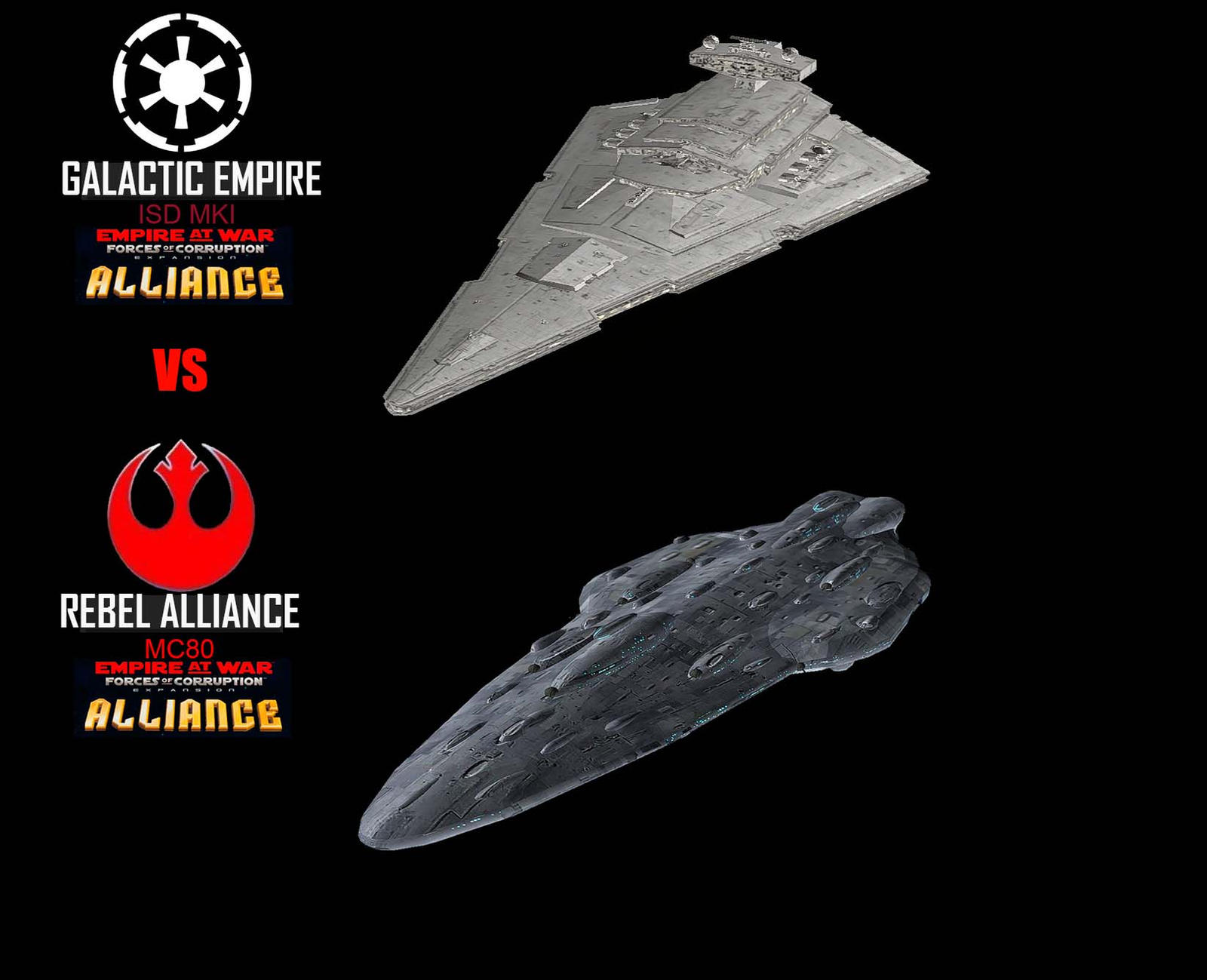 Star Wars Empire at War – FOC Alliance – ISD MKI vs MC80 MKI – Improved resistance