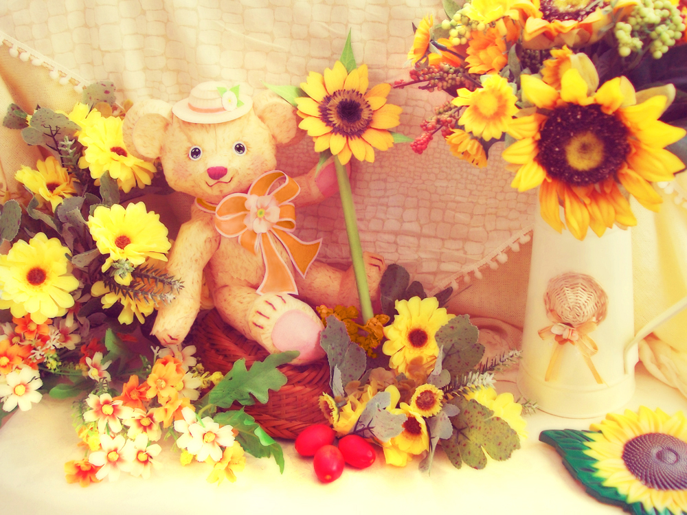 Childhood Summer Memories ~ Teddy Among Sunflowers by Vissyscrafts