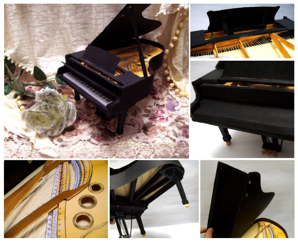 Grand Piano Elegance ~ Collage by Vissyscrafts