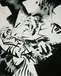 Lion Versus Tiger by peaceartist