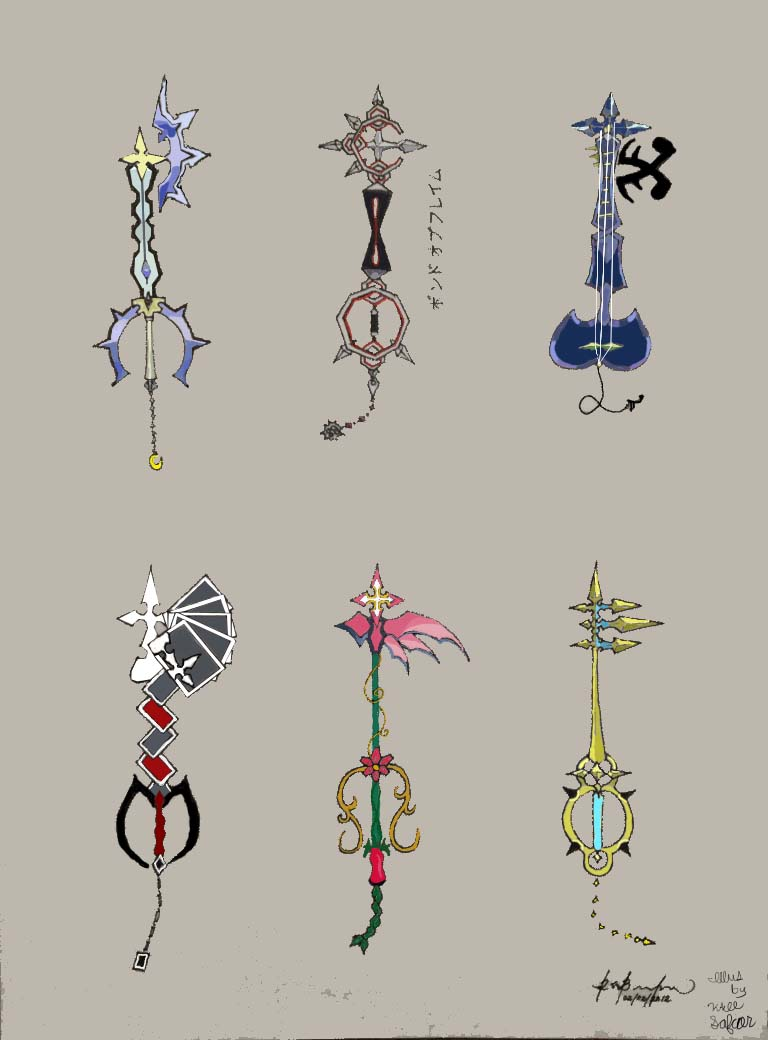 Coloring pages kingdom hearts - Coloring Pages Kingdom Hearts Organization Xiii Keyblades By Myanimexarts Color By