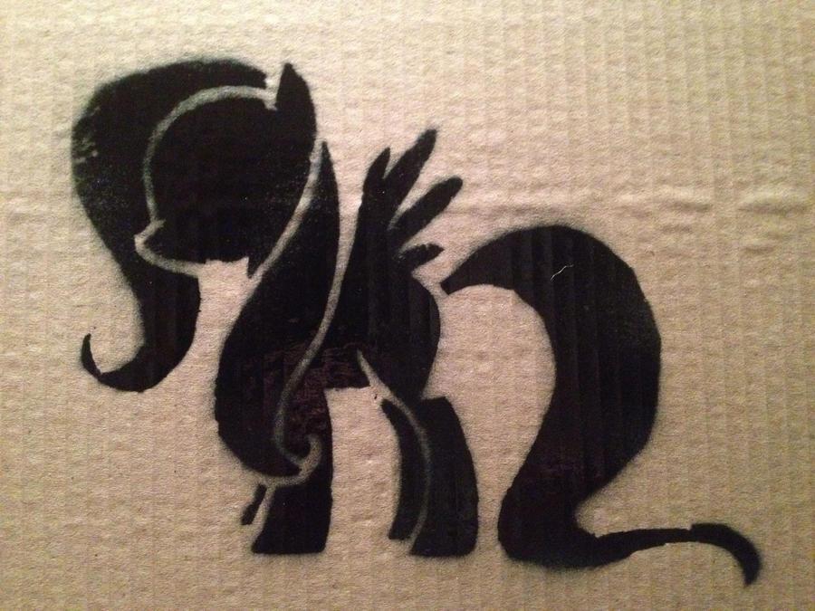 Fluttershy Stencil by SCARFI5H