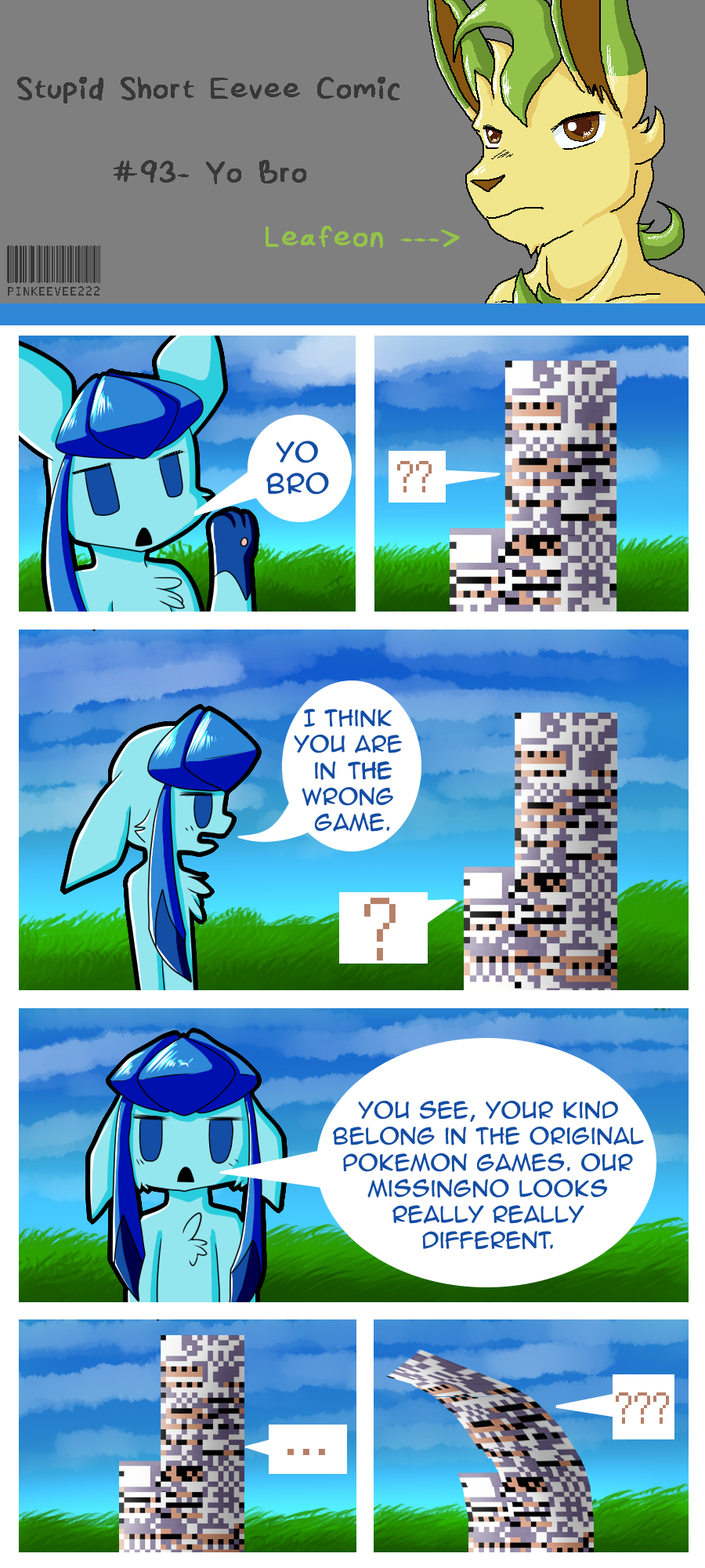 Glaceon likes breaking the fourth wall.