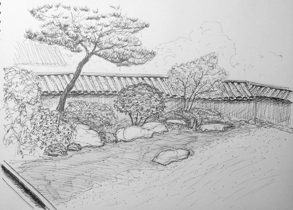 Japanese Garden Sketch By Langeboom