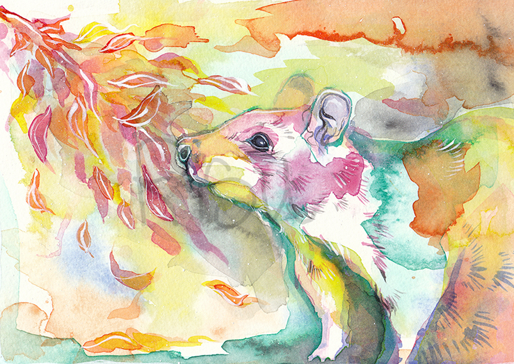 neon rat a la aquarelle by RisuPanda