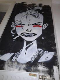 Tank Girl stencil on wall by RedBrk