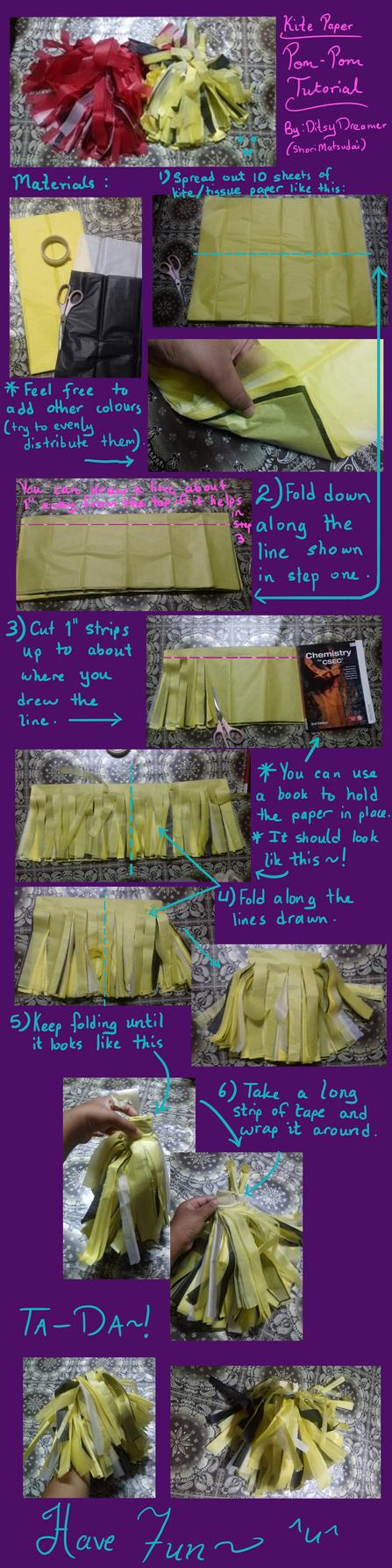 tissue paper pom pom tutorial