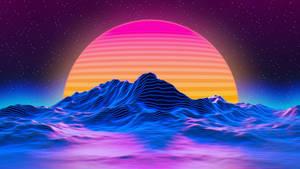 Retro sun mountains