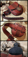 Leather waist pouch and belt