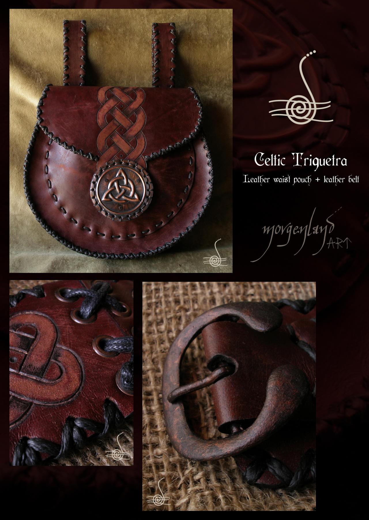 'Celtic Triquetra'  Waist pouch Leather belt by morgenland