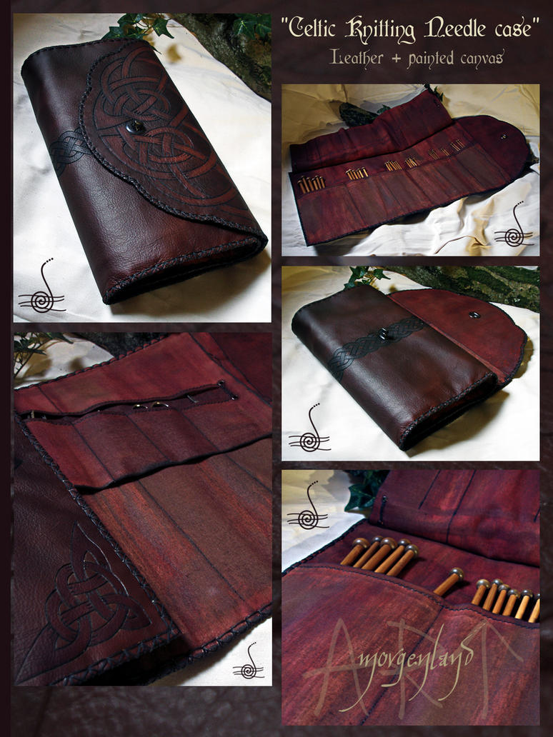 Knitting Needle Case Leather : Knitting needles leather case by morgenland on deviantart
