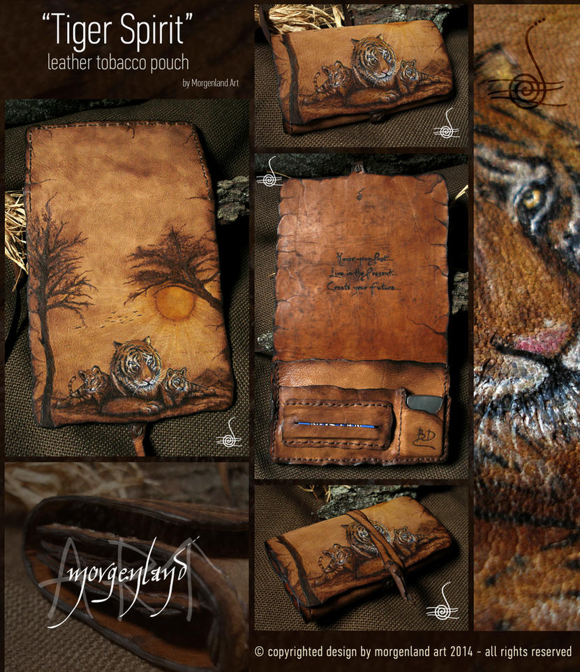 Tiger Spirit-leather tobacco pouch by morgenland