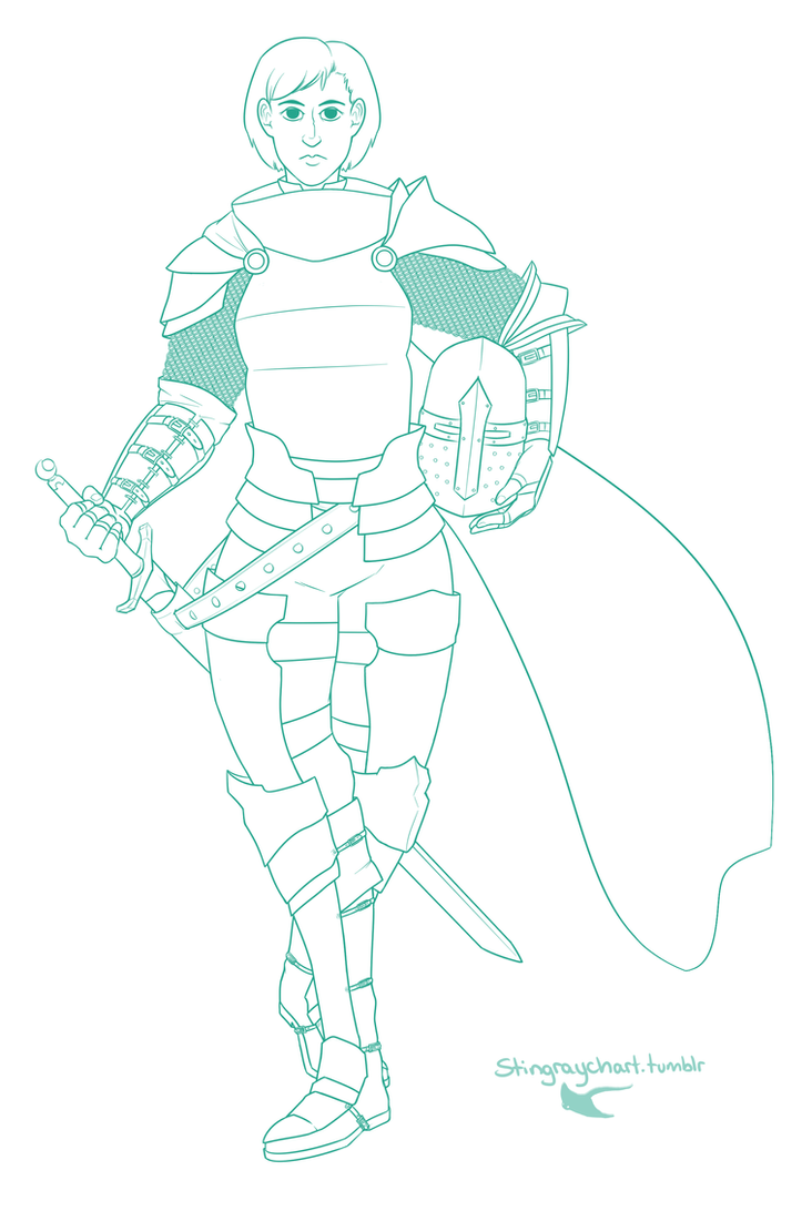 Female Knight Outline by Pwneropwnage