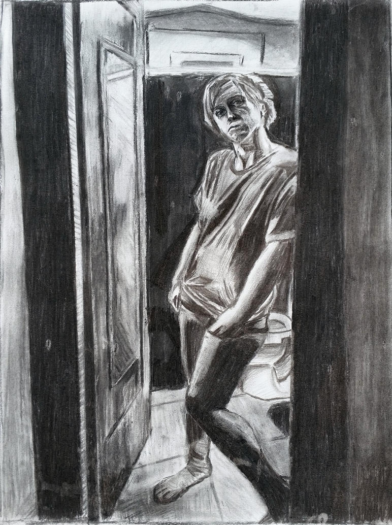 charcoal drawing figure study