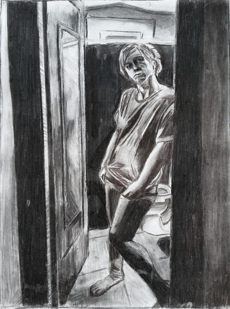 charcoal drawing figure study