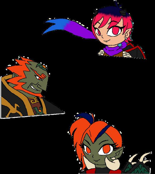Hikari, Ganondorf and Raven by Mizael-Hikari