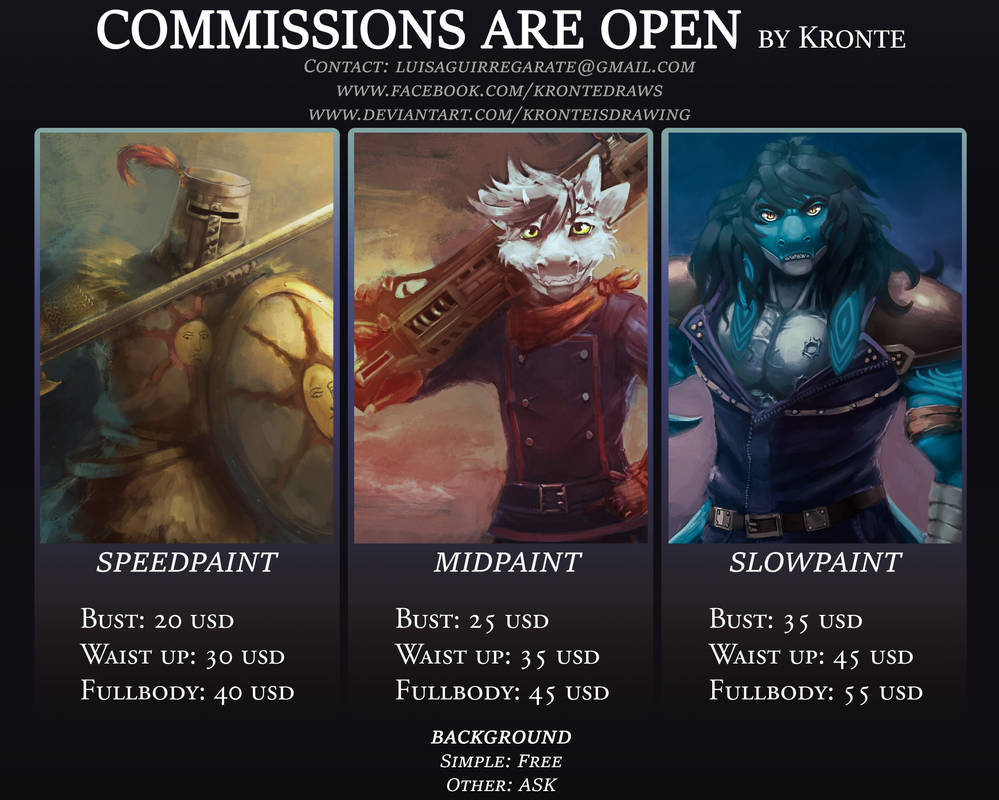 .::COMMISSIONS ARE OPEN::. by Kronte by Kronteisdrawing