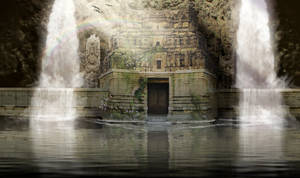 Water Temple Matte Painting by walkingcity