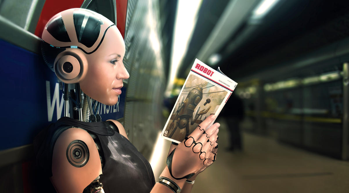Image result for robot and book