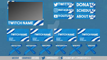 Brush Stroke Twitch Overlay Graphics Package