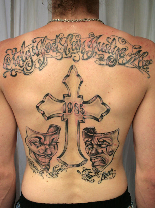 Smile now cry later cross by bogdanpo on deviantart for Smile more tattoo