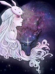 Rabbit Girl and The Wolf by Yohiri