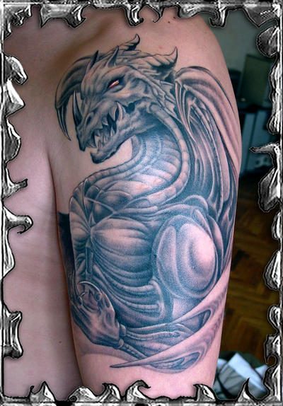 best dragon tattoo art on arm with fullcolor and black color