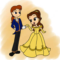 Chibi Belle and Adam by YellowSkinnies