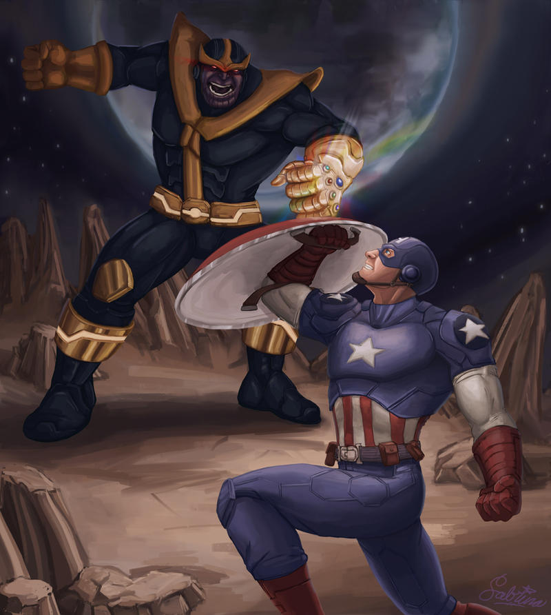 The Pros Of Cons Of Painting Vs Wallpapering: Captain America Vs. Thanos By Aerowan On DeviantArt