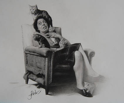 cat and woman