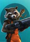 Rocket Raccoon and Baby Groot