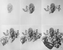 Avengers Infinity War Pencil Art working process